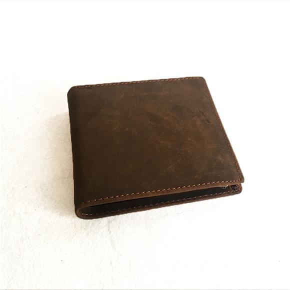 Handmade Original Vintage British Style Zipper Men's Wallet Genuine Leather Wallet Short Crazy Horse Leather Purse
