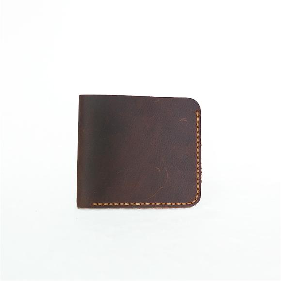 Handmade Vintage Crazy Horse Leather Wallet Men's Thin Short Wallet Head Layer Cowhide Leather Wallet