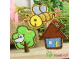Iron on Fabric Patches - Bee Tree Houes - Set of 3 - FP11