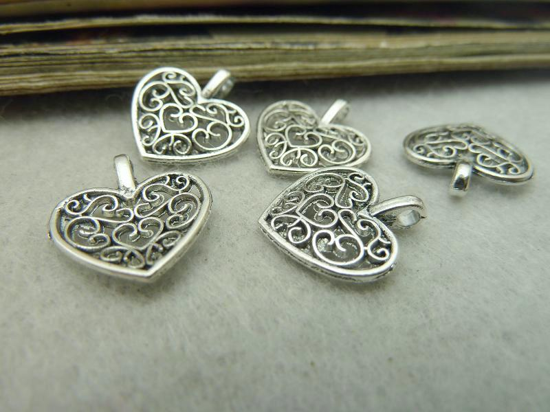 Antique Silver Alloy Pendants - Heart - 15mmx16mm - 50 PCS (JP294)