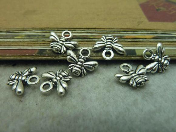 Antique Silver Alloy Pendants - Little Bee - 10mmx11mm - 100 PCS (JP293)
