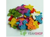 20mmx28mm Rainbow Color Carved Butterfly Wooden Pendants - - 1 Pack / 20 pcs (WB54)