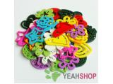 25mm Rainbow Color Wooden Carved Flower Pendants - 1 Pack / 20 pcs (WB55)