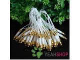 White Cell Phone Strap Lanyard with Golden Tone Metal - 10 pcs (PS1)