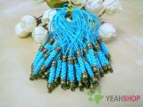 Blue Cell Phone Strap Lanyard with Antique Brass Metal - 10 pcs (PS3)