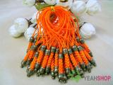 Orange Cell Phone Strap Lanyard with Antique Brass Metal - 10 pcs (PS3)