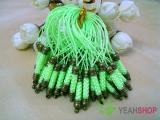 Fluorescent Green Cell Phone Strap Lanyard with Antique Brass Metal - 10 pcs (PS3)
