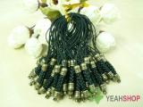 Black Cell Phone Strap Lanyard with Antique Brass Metal - 10 pcs (PS3)