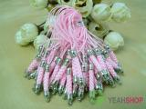 Pink Cell Phone Strap Lanyard with Silver Tone Metal - 10 pcs (PS4)