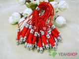 Red Cell Phone Strap Lanyard with Silver Tone Metal - 10 pcs (PS4)