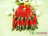 Red Cell Phone Strap Lanyard with Antique Brass Metal - 10 pcs (PS3)