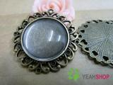 Antique Brass Cabochon Frames - 25mm / 0.98 Inch - 5 PCS (JCF90)